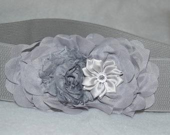 Chiffon Flower cinch belt, Wide elastic stretch corset belt,  stretch belt, Wide belt, Silver Gray belt, Gray stretch belt