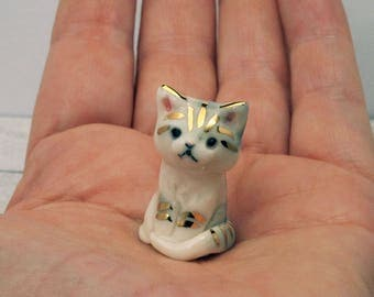 Porcelain Miniature ceramic tabby kitten figurine hand crafted miniature kitten totem with 24k gold trim