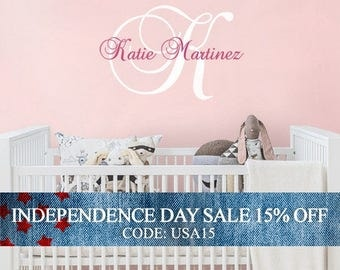 Independence Day Sale - Wall Decal Name Nursery Wall Decal - Custom Monogrammed Wall Decal for Girl or Boy in any Color