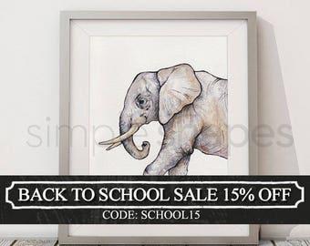 Elephant Watercolor Painting Nursery Animal Art Print African Safari Boys Room Girls Room Wall Art print