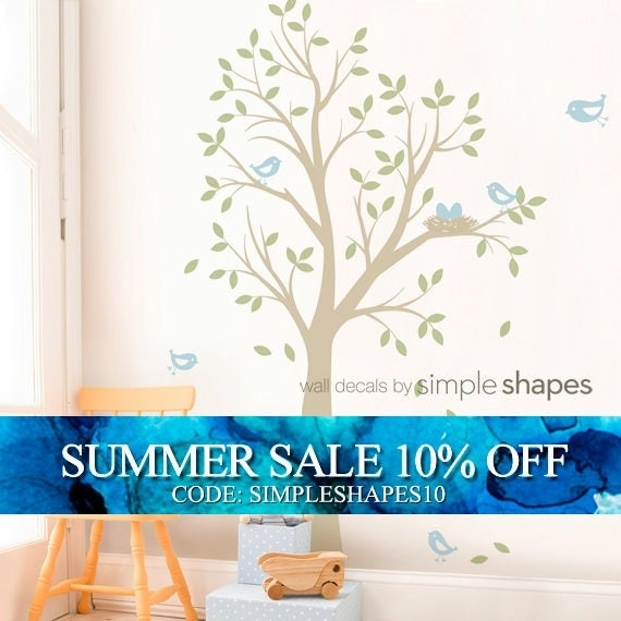 THE ORIGINAL Tree with Birds and Nest Decal - Children's Vinyl Wall Decal Set