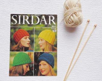 Vintage 1970s Knitting Pattern, Sidar Handknitting Pattern 5317, Knitting, Knitted Hat Pattern
