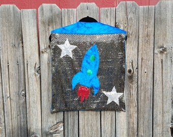Child Tiny Size Rocket Ship Spaceman Cape in Silver Sequin with Blue Faux Velvet Lining