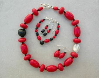 Bold Red 4-pc. Set, Chunky Necklace - Origami Thai Silver Bead, Kikui Nut, Tibetan Resin, Matching Bracelet, 2 prs. Earrings, SandraDesigns