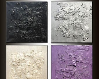 Original Modern Abstract Acrylic Painting, Textured Metallic Art by Henry Parsinia 24 x 24