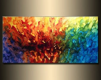 Modern Abstract Painting Contemporary Gallery Art On Canvas Ready To Hang by Henry Parsinia 48x24