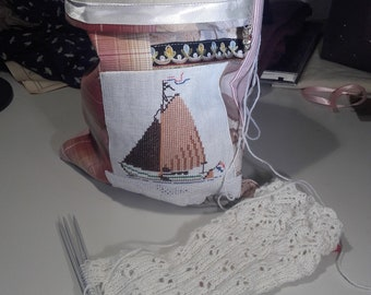 Project bag, for knitting, crochet, with recycled embroidery