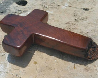 OOAK handmade wood cross made from Texas honey mesquite burl, Christian decor, wall decor, live edge