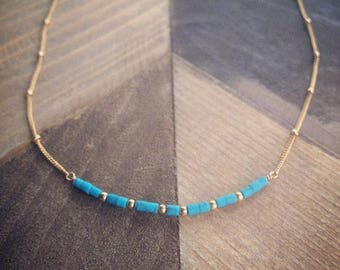 Blue Turquoise Gild Filled Bar Necklace