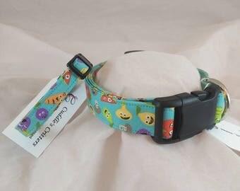 Fun Vegies Dog Collar, Fun Vegies Cat Collar, Vegan Pet Collar