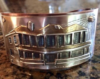 Your Home On a Cuff in Sterling Silver and Copper