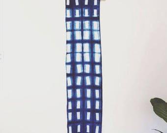 Indigo Bohemian Wall Hanging. Wall textiles. Wall Hanging. Blue Geometric Rectangles.