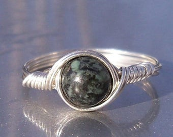 25% Off Sale Rainforst Jade Ring Argentium Sterling Silver Wire Wrapped Ring
