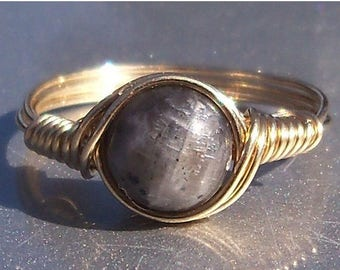 25% Off Sale Blue Labradorite Ring- Custom Sized in 14k Gold Filled Wire Wrapped