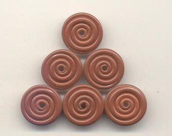 16, 17, 18mm range, Tom's lampwork opaque satin (etched) spanish leather 2 disc spacer set, 1 pair, 95976-1