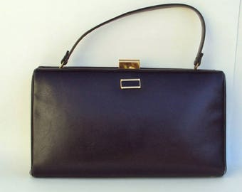 Vintage Handbag, Black Leather, Large, Kelly Bag, Designer Bag, Mid-Centry