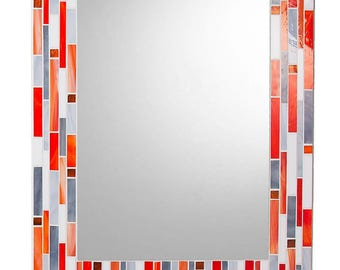 Mosaic Wall Mirror - Orange, Gray, & White