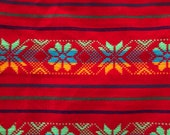 Ethnic Mexican Colorful Red Embroidered Fabric Yard Cambaya