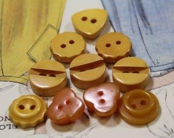 Bakelite Buttons 10 Vintage Butterscotch Dimi Cream Corn Yellow Butterscotch Bakelite Buttons