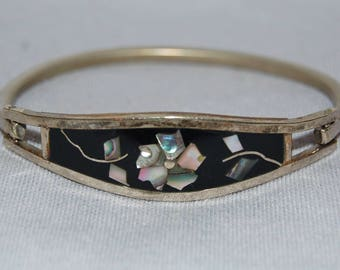 Silver Taxco Bracelet, Mexico Bangle Abalone, Vintage old jewelry