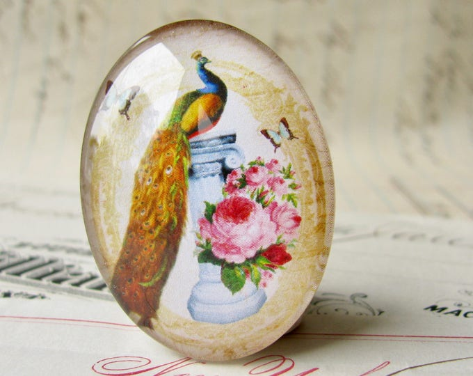 Elegant Peacock, Beautiful Birds collection, pink roses, glass oval cabochon, handmade cabochon in this shop, 40x30mm or 25x18mm