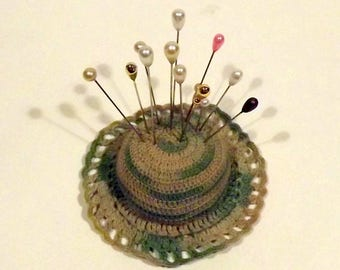Crochet Hat Pin Cushion Variegated Green with 12 Pins