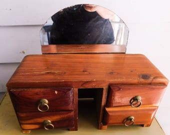 Vintage Red Cedar furniture piece Small Wooden Dressing Table Storage or Jewelry Box with Drawers Handmade