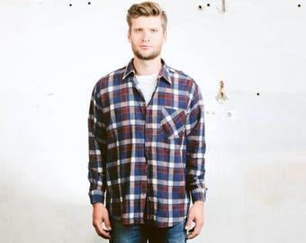 Men Plaid Shirt . Flannel Shirt Blue Worker Shirt Vintage 90s Grunge Lumberjack Jacket . size Large