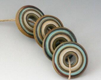 Rustic Disks - (4) Handmade Lampwork Beads - Mint, Brown