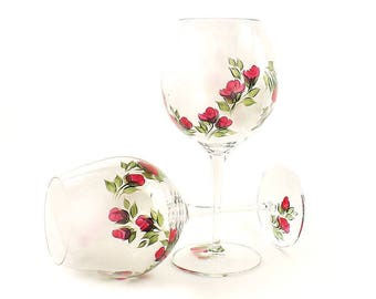 Set of 2 Painted CRYSTAL Red Wine Glasses - Classic Crimson Red Rose Buds, Green Leaves - Retirement Gift Ideas, Birthday Gifts