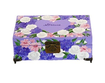 Hand Painted Personalized Floral Keepsake Storage Box - White Roses, Purple Blue Pink Flowers - Custom Birthday Memory Box