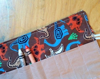 Sale Late summer SALE Crayon Roll up Dinos on brown