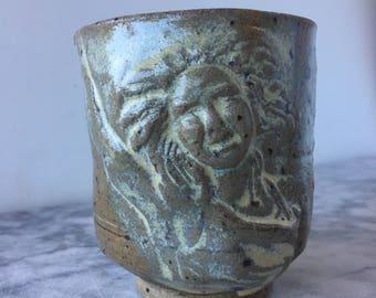 Dancer cup, bas relief sculpture teacup, figure art pottery yunomi tumbler