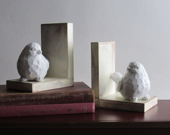 home decor - handcrafted bookends - White Birds