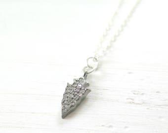Diamond Pave Necklace, Tiny Arrow Diamond Necklace in Sterling Silver, Boho Layering Necklace, Pave Necklace, Delicate Necklace, Gift