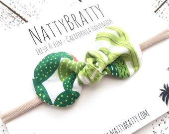 Fabric Bow Headband - Cactus Print - Baby Headband - Modern Baby Style - Bow Hairband - Nylon Headband - Baby Girl Gift