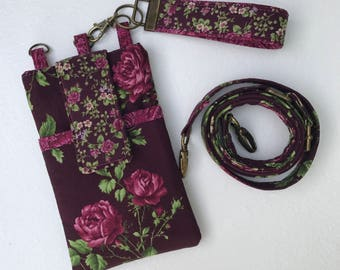 Vintage Phone Case Purse Wristlet Shoulder Strap  iPhone 4 5 6 Plus 6s 7s 7 Plus Samsung Galaxy Wine Burgundy or Black Floral Paisley