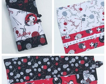 Choose Any Fabric in My Shop Embroidered Numbered Pockets Set Spill Proof Interchangeable or DPN Knitting Needle Organizer