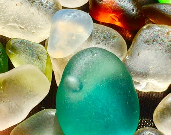 A-Sea Glass or Beach Glass of Hawaii 50 OPALESCENT! BLUE! GIFT! Next day shipping! Bulk Sea Glass! Sea Glass Bulk! Seaglass