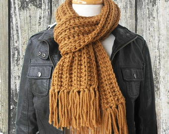 Tan Wool Scarf - Knit Scarf - Handknit Scarf - Crochet Scarf - Brown Winter Scarf
