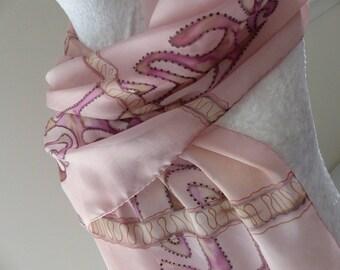 Pink painted silk chiffon scarf