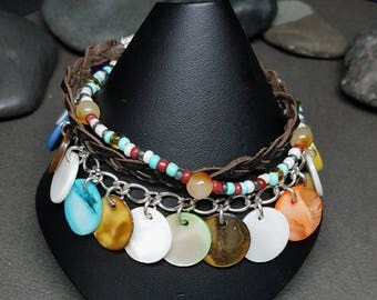 Boho Style Bracelet |  Leather Bracelet | Lava Bead Charm| Shell Bracelet | Triple strand Bracelet | Bohemian Style | Gypsy Wear | Trine