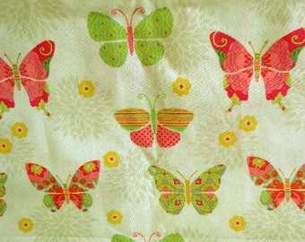 "Butterfly Fabric, ""Bohemian Garden Butterflies"", Suzanne Nicoli, Springs Creative Products Group,CP 53061, One yard Plus 21 inches"