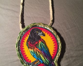Rainbow crow with beaded border authentic Native American Beadwork