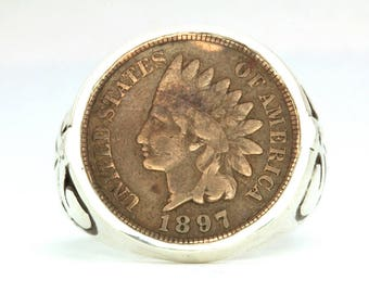 Indian Head Penny ring sterling silver coin ring by  Blue Bayer Design NYC