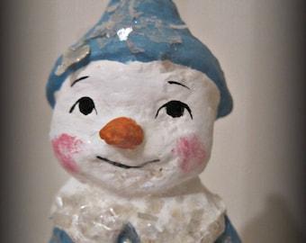 Blue Snowman paper mache  folk art OOAK art doll papier mache spool doll