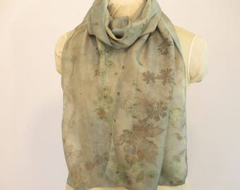 "Natural Dye Silk Scarf - Rose Cranesbill Maple Indigo - Wisconsin Local Color - HA14121711 - approx. 14""x70"" (35 x 177cm)"