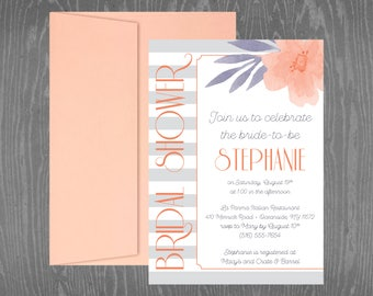 Bridal Shower Invitation - Watercolor Flower - Vintage - Coral and Grey - DEPOSIT