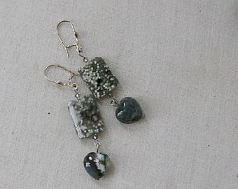 Ocean Jasper Rectangles with Moss Opalite Hearts Earrings on Silver heart Earwires, Gray, Silver, Blue