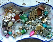 Tiny Jewelry Destash Lot - Tiny Charms - Apocalypse Charms - Shamrock - Hearts - Rhinestone - Owls - Flowers - D1